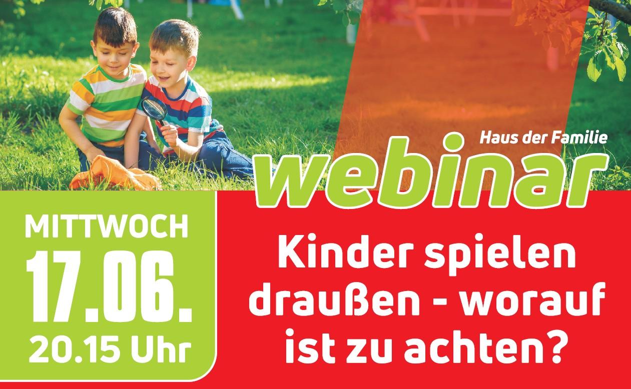 Webinar für Eltern: Kinder spielen draußen – am 17.06.
